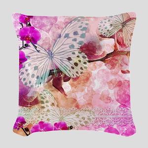 Orchids and Butterflies Woven Throw Pillow
