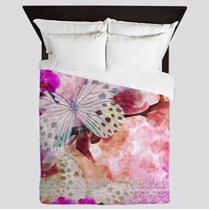 Orchids and Butterflies Queen Duvet