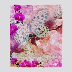 Orchids and Butterflies Throw Blanket