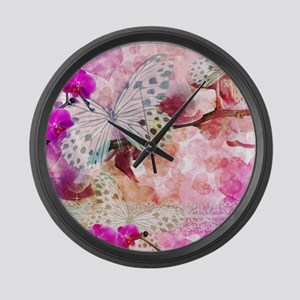Orchids and Butterflies Large Wall Clock