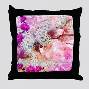Orchids and Butterflies Throw Pillow