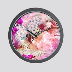 Orchids and Butterflies Wall Clock