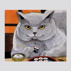 "Sushi Cat ""Big Fred"" Throw Blanket"