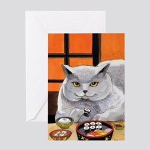 """Sushi Cat """"Big Fred"""" Greeting Cards"""