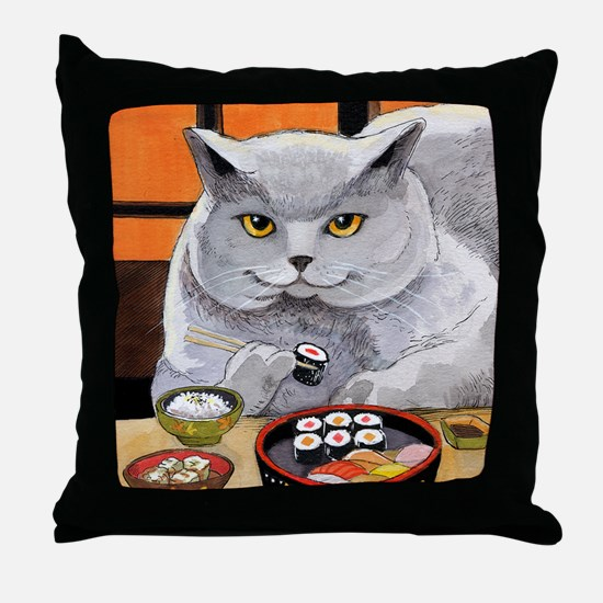 "Sushi Cat ""Big Fred"" Throw Pillow"
