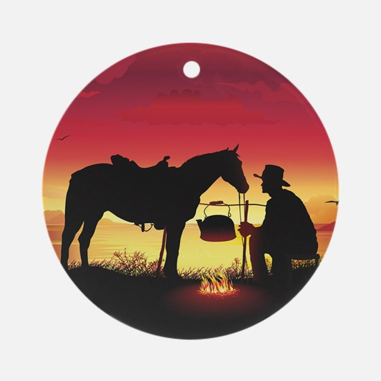 Cowboy and Horse at Sunset Round Ornament