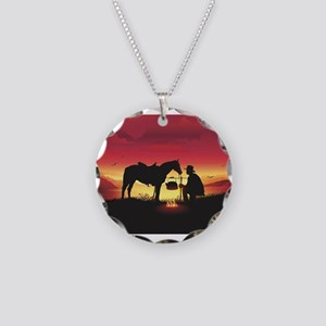 Cowboy and Horse at Sunset Necklace Circle Charm