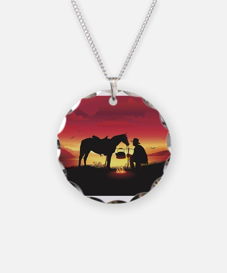 Cowboy and Horse at Sunset Necklace