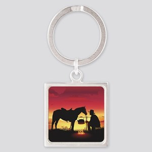Cowboy and Horse at Sunset Square Keychain