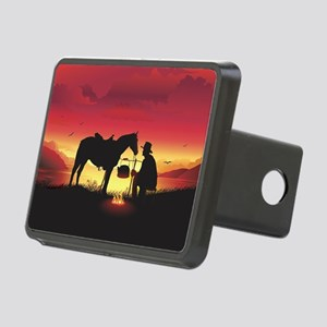Cowboy and Horse at Sunset Rectangular Hitch Cover