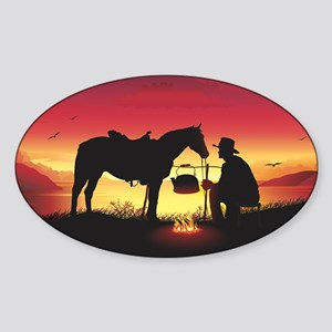 Cowboy and Horse at Sunset Sticker (Oval)