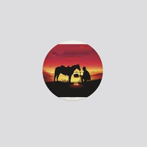 Cowboy and Horse at Sunset Mini Button