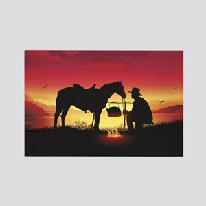 Cowboy and Horse at Sunset Rectangle Magnet
