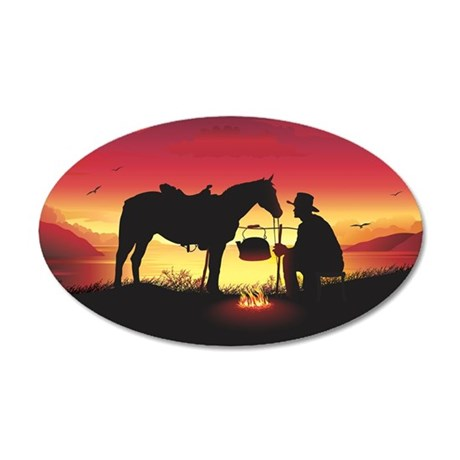 Cowboy and Horse at Sunset 20x12 Oval Wall Decal & Cowboy Wall Decals - CafePress