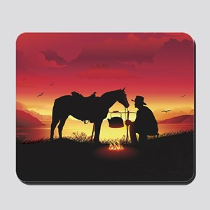 Cowboy and Horse at Sunset Mousepad