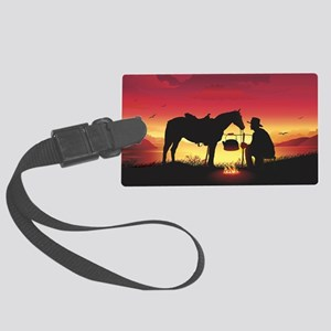 Cowboy and Horse at Sunset Large Luggage Tag