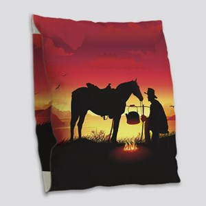 Cowboy and Horse at Sunset Burlap Throw Pillow