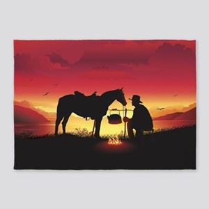 Cowboy and Horse at Sunset 5'x7'Area Rug