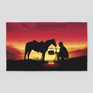 Cowboy and Horse at Sunset Area Rug