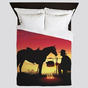 Cowboy and Horse at Sunset Queen Duvet