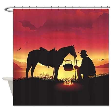 Cowboy And Horse At Sunset Shower Curtain By ADMIN CP64763095