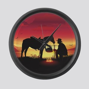 Cowboy and Horse at Sunset Large Wall Clock