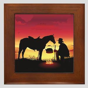 Cowboy and Horse at Sunset Framed Tile