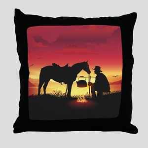 Cowboy and Horse at Sunset Throw Pillow