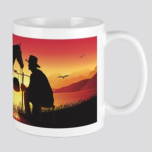Cowboy and Horse at Sunset Mug