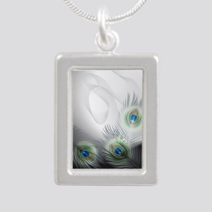 Peacock Feather Fantasy Silver Portrait Necklace