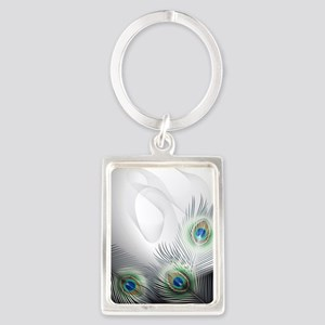 Peacock Feather Fantasy Portrait Keychain