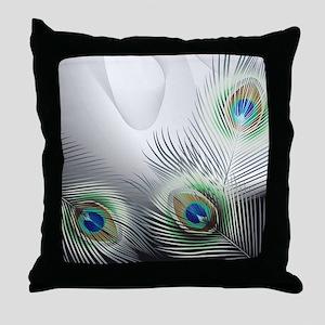 Peacock Feather Fantasy Throw Pillow