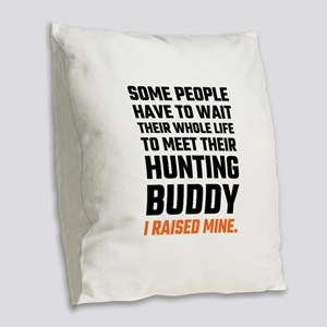 Hunting Buddy Father Son Burlap Throw Pillow