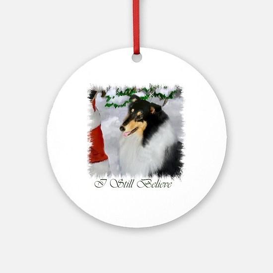 Tri-Color Collie Christmas Ornament (Round)