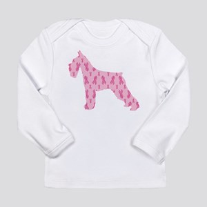 Pink Ribbon Schnauzer for Cancer Long Sleeve T-Shi