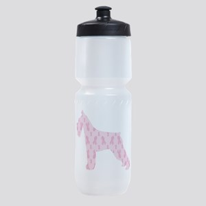 Pink Ribbon Schnauzer for Cancer Sports Bottle