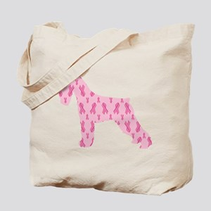 Pink Ribbon Schnauzer for Cancer Tote Bag