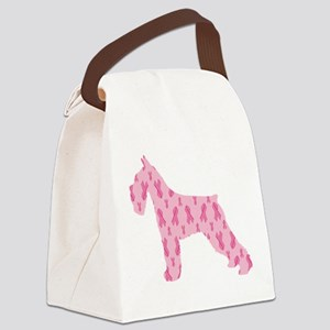 Pink Ribbon Schnauzer for Cancer Canvas Lunch Bag