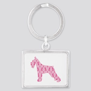 Pink Ribbon Schnauzer for Cancer Keychains