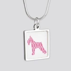 Pink Ribbon Schnauzer for Cancer Necklaces