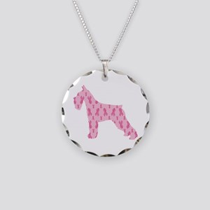 Pink Ribbon Schnauzer for Cancer Necklace