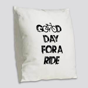 Good Day For A Ride Burlap Throw Pillow