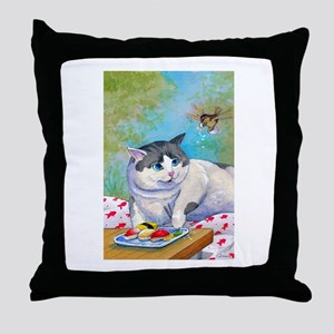 Sushi Cat© Picnic Suprise Christina Throw Pillow