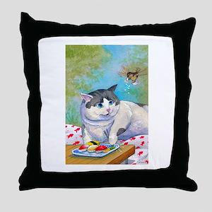 Sushi Cat© Picnic Suprise Christina Throw Pillow