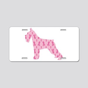 Pink Ribbon Schnauzer for Cancer Aluminum License
