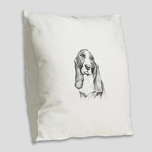 basset Burlap Throw Pillow