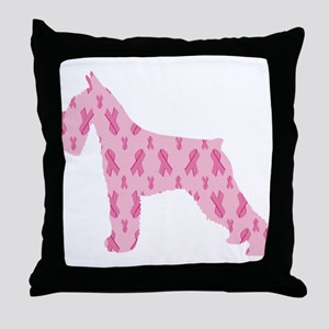 Pink Ribbon Schnauzer for Cancer Throw Pillow