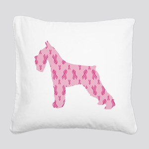 Pink Ribbon Schnauzer for Cancer Square Canvas Pil