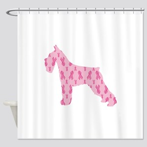 Pink Ribbon Schnauzer for Cancer Shower Curtain