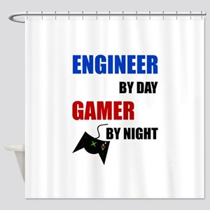Engineer By Day Gamer By Night Shower Curtain